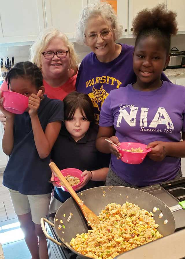Children in the LANDers After-School Program in the Kitchen