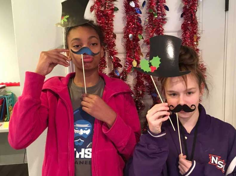 Two Children in the LANDers After-School Program Play Dress Up
