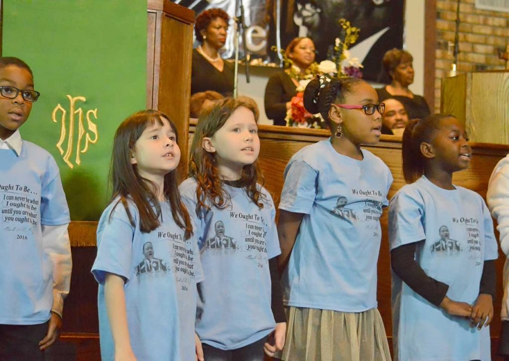 Children sing at the Martin Luther King, Jr. Day celebrations