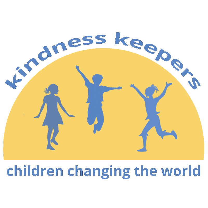 Kindness Keepers logo shows three children jumping for joy!
